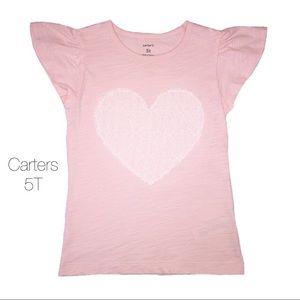 Carters Pink Heart Flutter Top NEW 5T